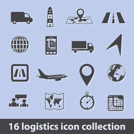 16 logistic icon collection Vector