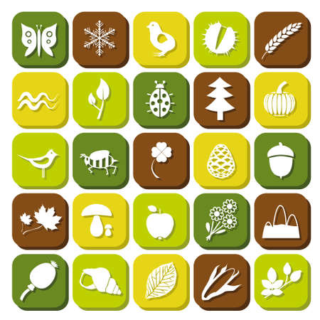 nature icons Stock Vector - 18851240