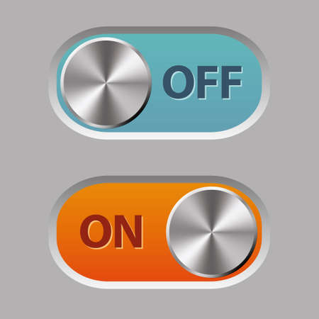 metalic design: off and on buttons