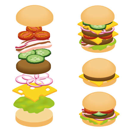 hamburger ingredients Vector