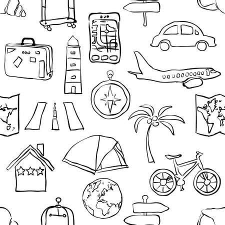 bike cover: seamless sketch travel pattern Illustration