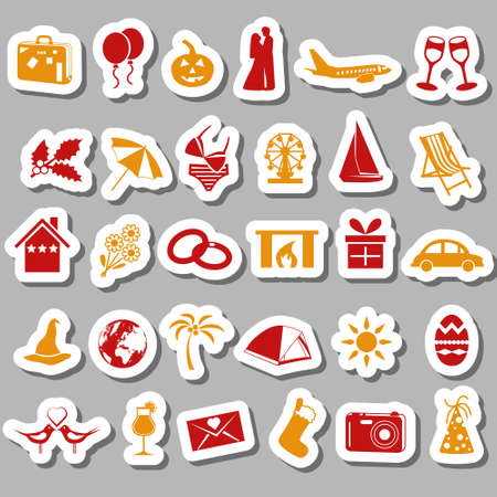 holiday and events stickers Vector