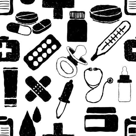 doodle pharmacy seamless pattern Vector