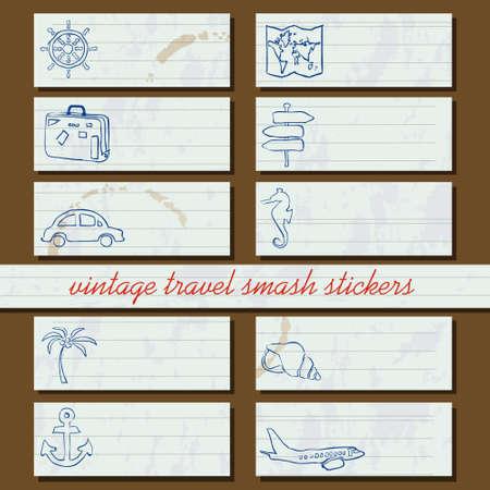 vintage travel smash stickers Stock Vector - 19199975