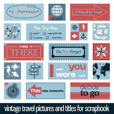 vintage travel pictures and titles for scrapbook Vectores
