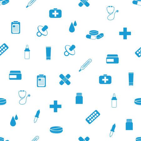 feeding bottle: pharmacy seamless pattern