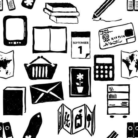 concertina: doodle bookshop seamless pattern