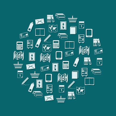 concertina: bookshop icons in circle
