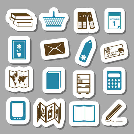 concertina: bookshop stickers Illustration