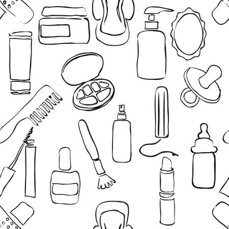 tampon: sketch drugstore seamless pattern