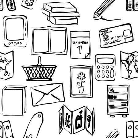 concertina: sketch bookshop seamless pattern