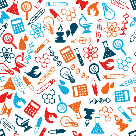 science chemistry: laboratory seamless pattern Illustration