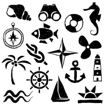 doodle marine images Vector