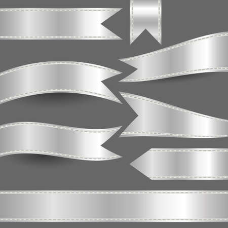 curved ribbon: set of silver ribbons Illustration