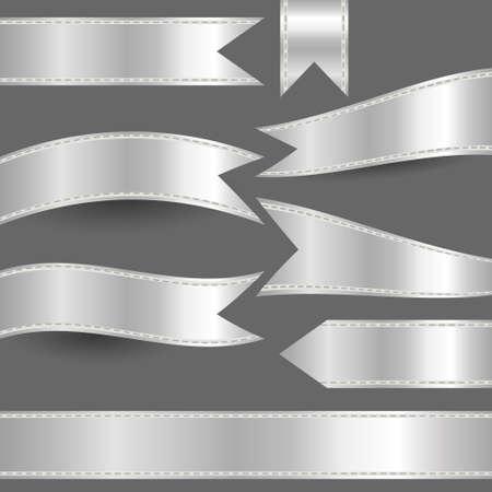 silver ribbon: set of silver ribbons Illustration