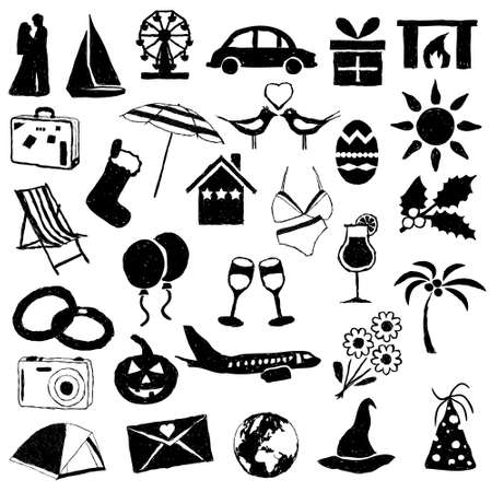 wedding tent: holiday and events doodle images Illustration