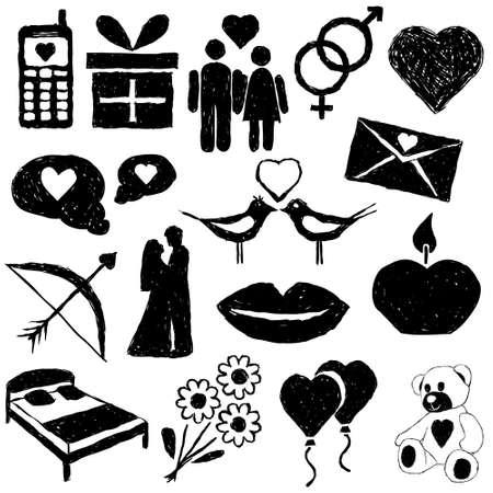 couple in bed: doodle valentine images Illustration