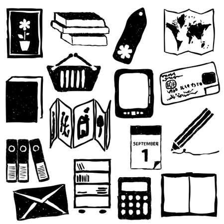 concertina: bookshop doodle images Illustration