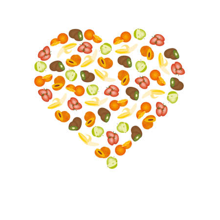 nectarine: fruits in heart Illustration