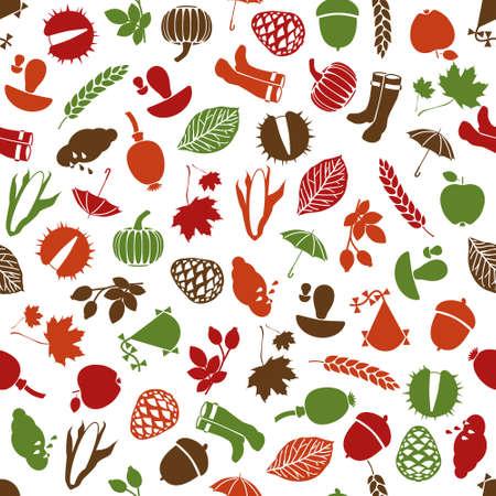 button mushroom: autumn  seamless pattern Illustration