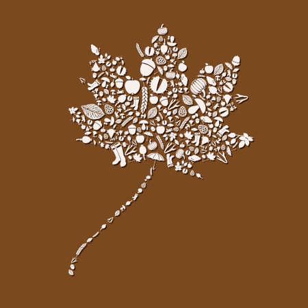 cloud ear fungus: autumn leaf Illustration