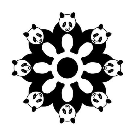 panda in circle Vector
