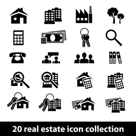 20 real estate icon collection Stock Vector - 22869469