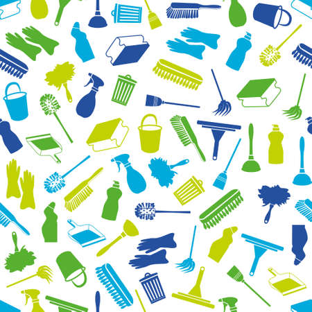 dustpan: cleaning seamless pattern Illustration