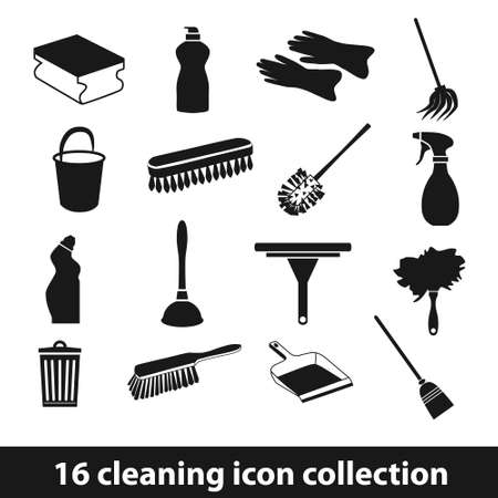 dustpan: 16 cleaning icon collection Illustration