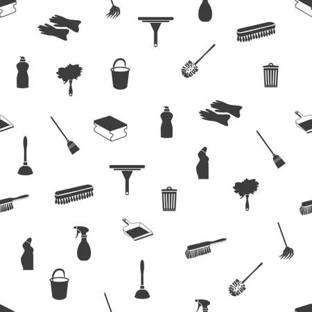 dustpan: seamless cleaning icons Illustration