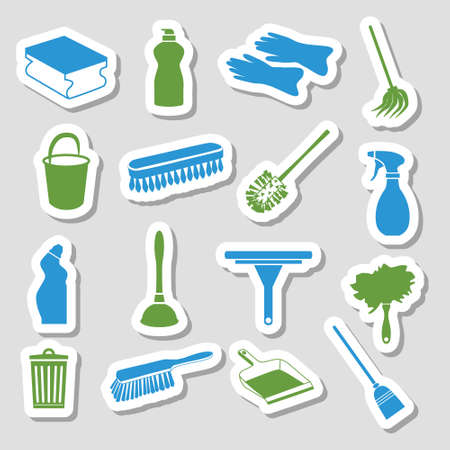 toilet brush: cleaning stickers Illustration