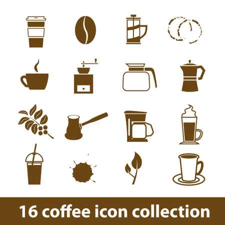 espresso machine: 16 coffee icon collection