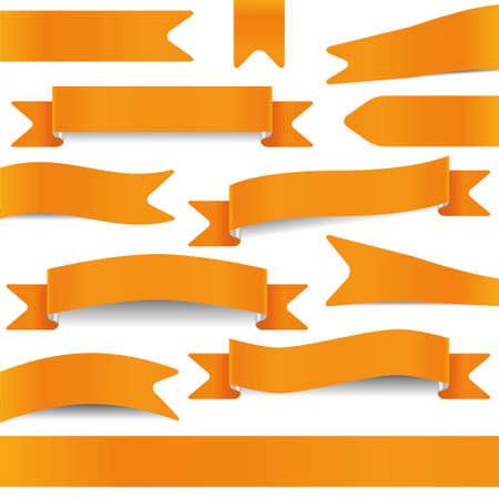 set of orange ribbons Vector