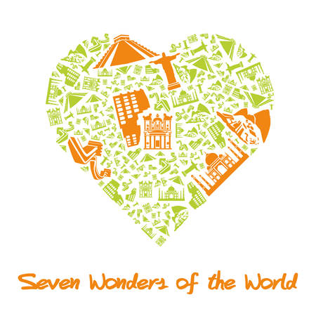 Seven Wonders of the World in Heart Vector