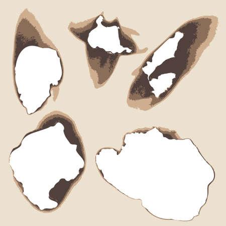 holes: burnt holes in paper