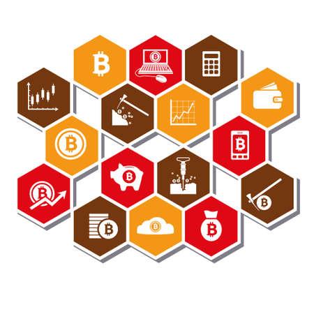 stock graph: bitcoin icons