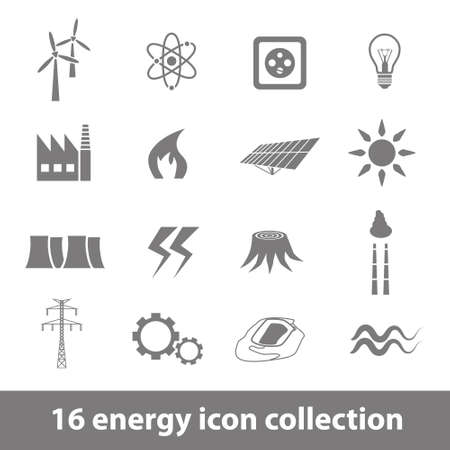 electricity pole: 16 energy icons collection Illustration