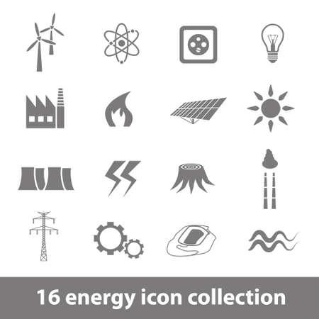 enchufe de luz: Colección de 16 iconos de la energía