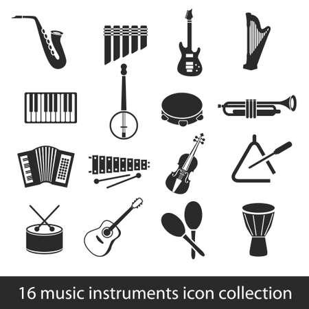 pandero: Colección de 16 instrumentos musicales icono Vectores