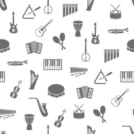 music instruments seamless pattern Vector