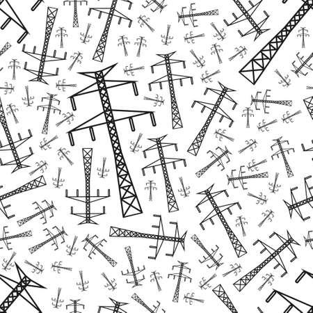 electricity pole seamless pattern Illustration