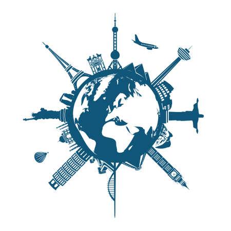 wereld gebouwen op de Aarde Stock Illustratie