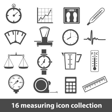 manometer: 16 measuring icon collection Illustration