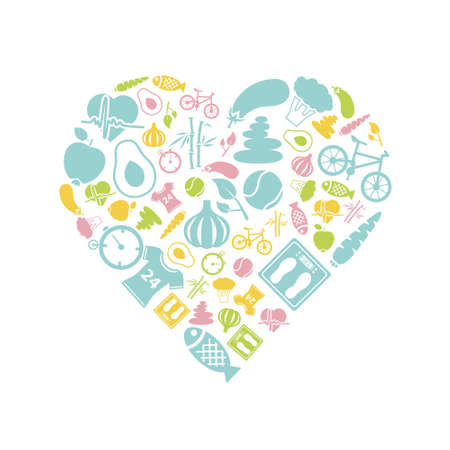 healthy lifestyle icon in heart Vector
