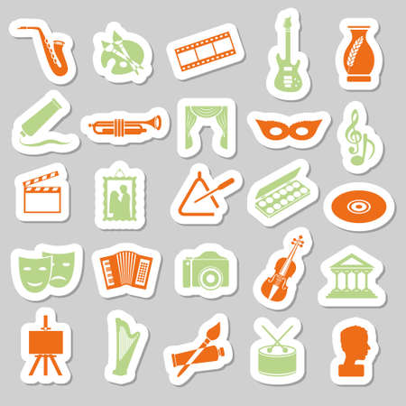art and culture stickers Vector