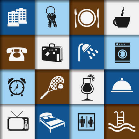 hotel and accommodation icons Vector