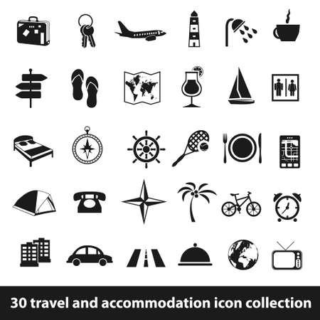 30 travel and accomodation icon collection Illustration