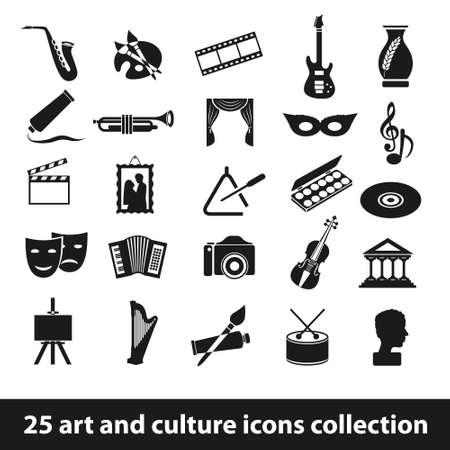 25 kunst en cultuur icoon collectie Stock Illustratie