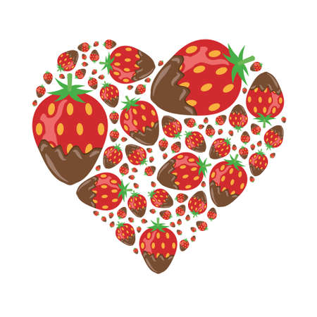 strawberry plant: strawberries in chocolate in heart