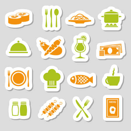 restaurant stickers Vector